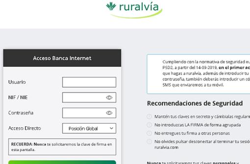 Página web maliciosa que se hace pasar por la oficial de Caja Rural