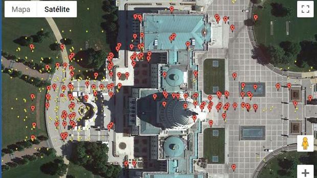 Así es el mapa interactivo que muestra el asalto al Capitolio de EE.UU. a través de vídeos