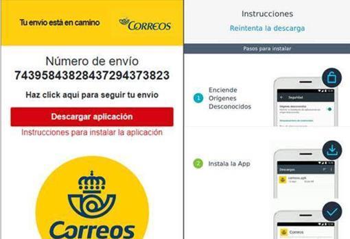 Así es la página web fraudulenta en los casos en los que se suplanta a Correos