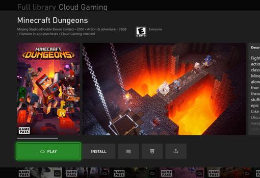 Imagen de Game Pass con la llegada del juego en la nube para consolas. El usuario solo tendrá que hacer 'clic' en el icono que recoge una nube para empezar la partida sin necesidad de instalar