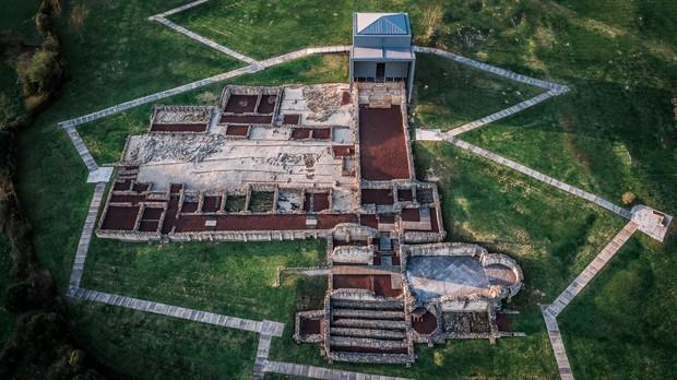 La villa romana de Veranes, vista desde el aire