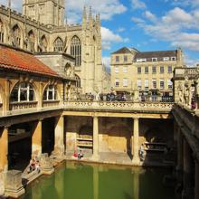 View of the large swimming pool of the Roman Baths of Bath